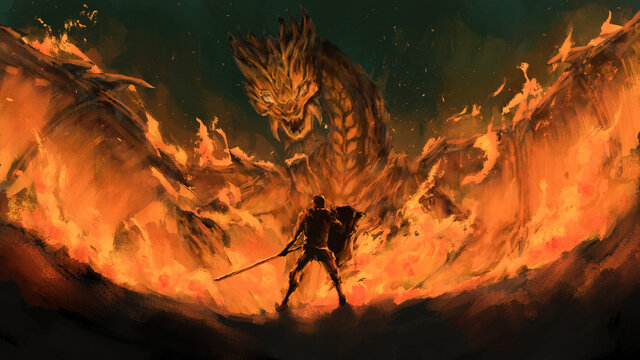 warrior standing confront dragon in the flames,tale monster,creatures of myth and Legend ,digital art, Illustration painting.