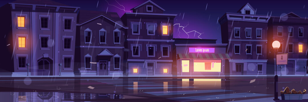 City street with houses and empty road at cold weather with rain and lightning. Vector cartoon cityscape with glowing windows of shop or cafe at rainy night. Illustration of thunderstorm in town
