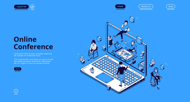 Online conference isometric landing page, tiny business people communicate via internet video call at huge laptop. Virtual meeting with colleagues, distant workplace 3d vector line art web banner