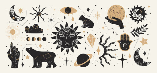 Collection of Mystical and Astrology objects in boho style. Vector illustration.