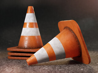 Fototapeta Set of grunge road cones