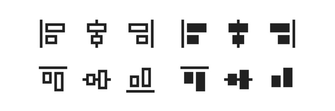 Align, line icon set. Column transform interface symbol in vector flat