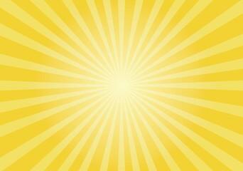 Obraz Sun rays Retro vintage style on yellow background,  sunburst Vector illustration - fototapety do salonu