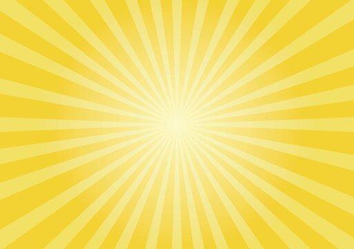 Sun rays Retro vintage style on yellow background,  sunburst Vector illustration