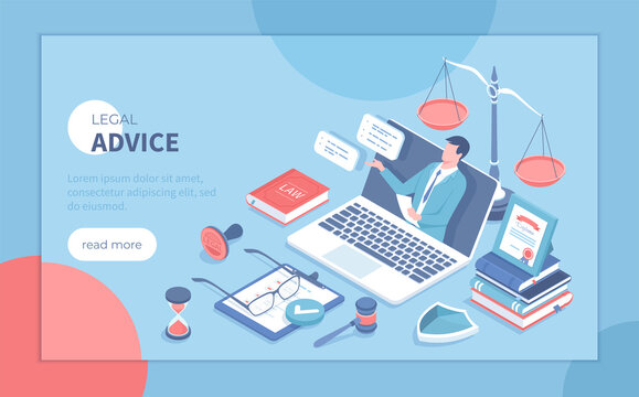 Legal Advice and Aid. Online services. A professional lawyer gives consultation through a laptop. Law and justice concept. Isometric vector illustration for poster, presentation, banner, website.