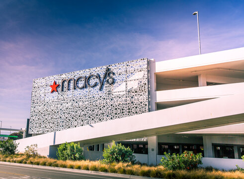 Santa Clara, CA  USA - January 14, 2021: Macy's Fashion designer store. An American department store chain under iconic brand names including Macy's, Bloomingdale's, and Bluemercury in 44 states.