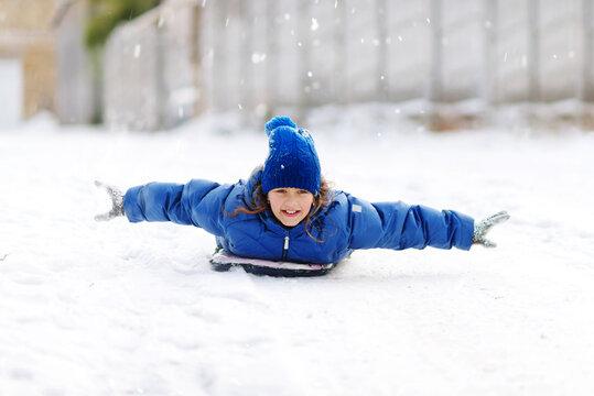 happy girl in snowtime