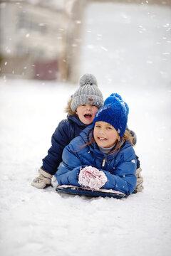 happy children on the snow