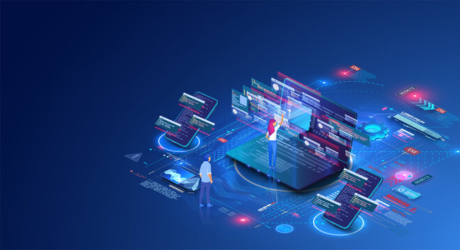 People work in a team and interact with graphs. Business, workflow management. Remote employee's laptop. Developing of internet app or online website service. Isometric vector illustration