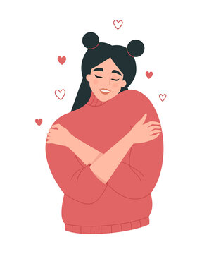 Self care, body positive concept. Happy young woman in a warm sweater hugging herself with little hearts around. Flat vector illustration isolated on white background. Self love. Cute female character
