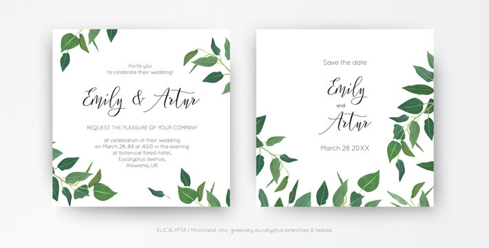 Modern, minimalist style leafy wedding invitation, floral invite card design. Natural eco-friendly eucalyptus greenery branches, green leaves decorative illustration. Vector art botanical template set