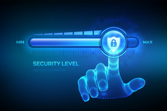 Increasing Security level. Cyber security concept. Wireframe hand is pulling up to the maximum position progress bar with the secure shield icon. Enhance data protection level. Vector illustration.