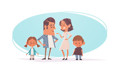 Wall Mural - happy parents with children standing together friendly family concept horizontal full length vector illustration