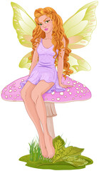 Fairy Sitting on Mushroom