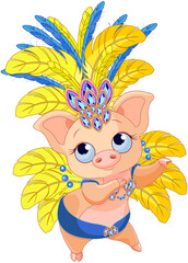 Cute Samba Dancer Pig