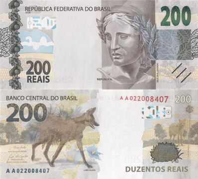 Banknote of two hundred reais. High resolution and detailed Brazilian currency note for use as texture.