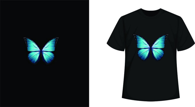 Butterfly - Blue in black t shirt vector