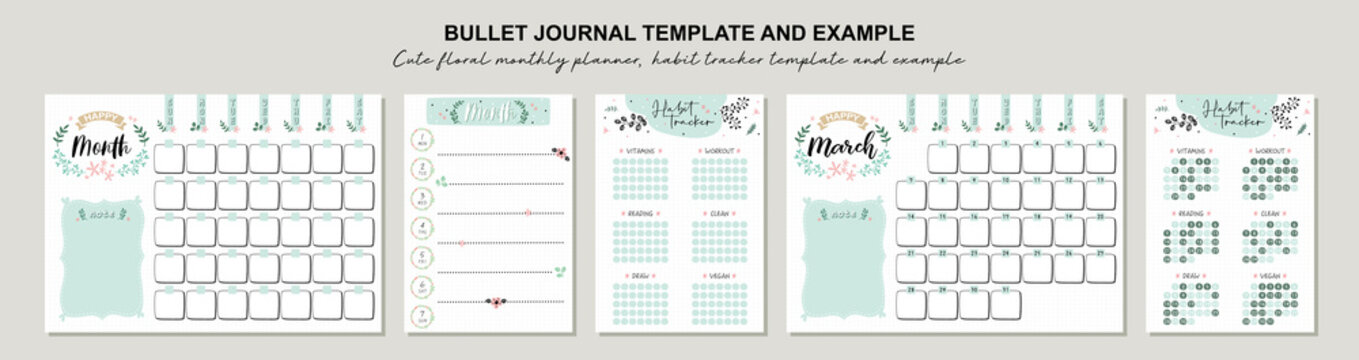 Set of planners with cute floral doodles.  Template for agenda, schedule, planners, checklists, bullet journal, notebook and other stationery.