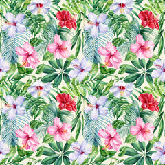 Palm leaves, tropical flowers on white background, watercolor botanical illustration. Seamless patterns.