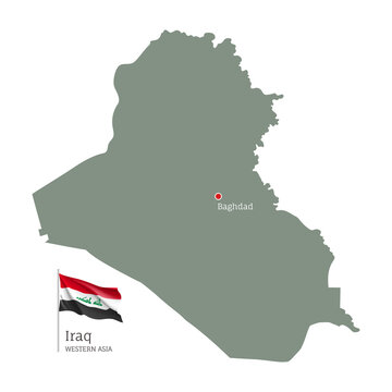 Silhouette of Irak country map. Highly detailed editable map of Irak with national flag and Baghdad capital, Western Asia country territory borders vector illustration on white background