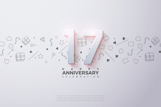 17th Anniversary background with faded numbers illustration on top.