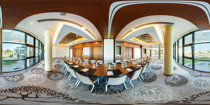 MINSK, BELARUS - JULY 27, 2017: panorama 360 view in interior of luxury conference hall for business meetings with panoramic windows, full 360 by 180 degrees panorama in equirectangular projection