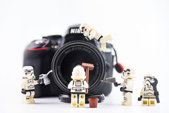 Bangkok, Thailand - January, 17, 2021 : Lego Star Wars taking care cameras Clean dslr nikon at Bangkok, Thailand.Fun scene concept