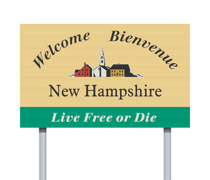 Vector illustration of the Welcome to New Hampshire road sign on metallic posts