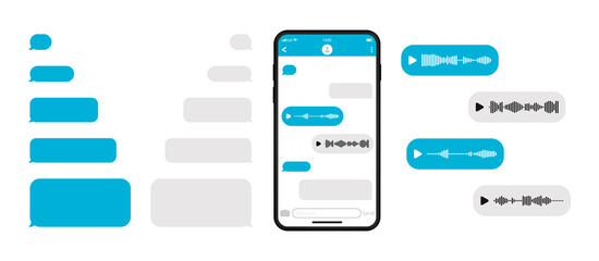 Mockup smartphone with blank template messenger chat. Telegram messenger. Voice message and empty talk bubble speech icon. Social media. Vector