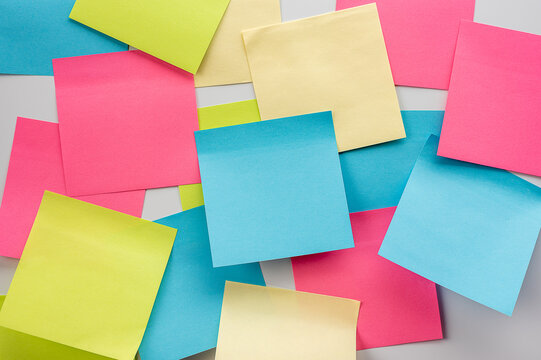Set of blank colorful sticky notes. Business people meeting and use post it notes to share idea on sticky note. Discussing - business, teamwork, brainstorming concept