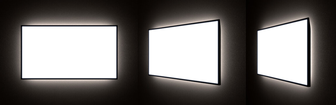 Set of Different Viewing Angles of Blank TV or Ad Screens with Backlight in the Dark on the Wall. 3D Rendering of LCD or LED Flat Panel Monitors.