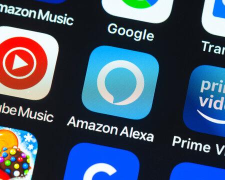BAYONNE, FRANCE - CIRCA JANUARY 2021: Amazon Alexa app icon on Apple iPhone screen. Amazon Alexa is a virtual assistant AI technology developed by Amazon.