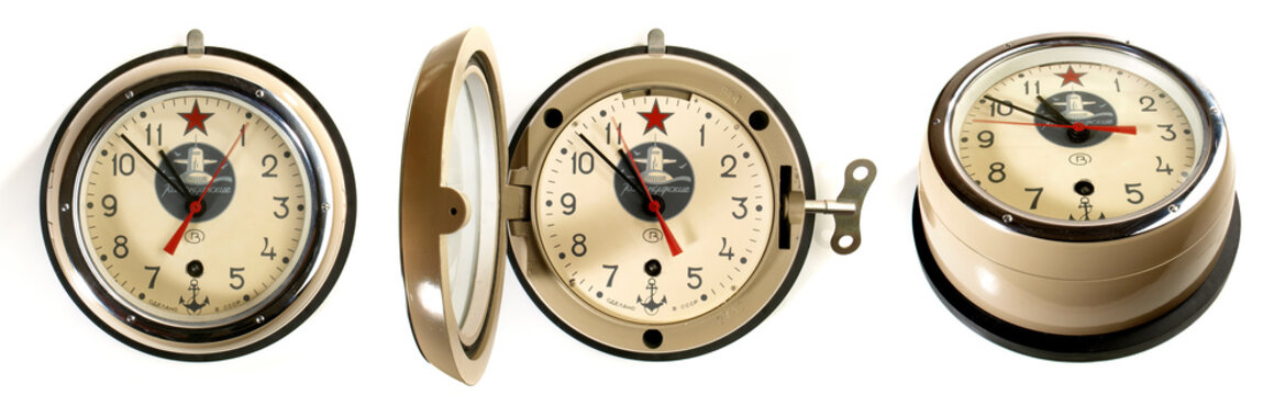 Russian Submarine Clock isolated on white Background