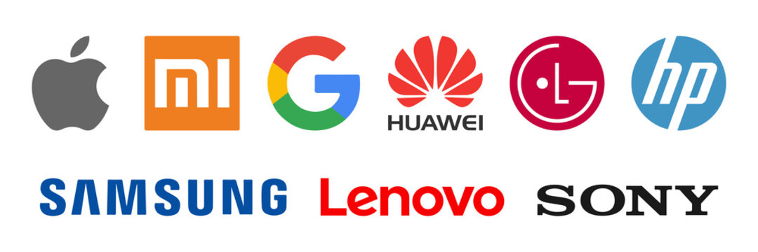 Top Electronic Companies logo vector. Apple, samsung, xiaomi, huawei, hp, lg, sony, lenovo, google icon.