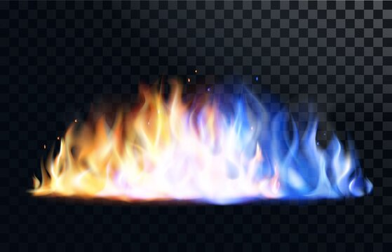 Yellow and blue fire flame