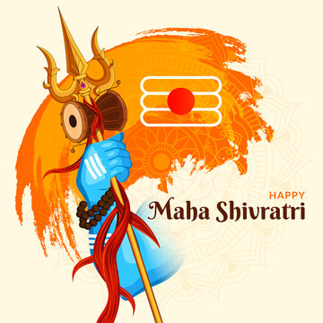 Lord Shiva Holding his Trishula, Happy Mahashiv Ratri background