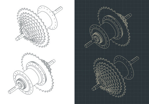 Bicycle Hub with cassette isometric drawings