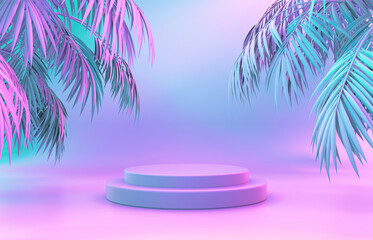 Beauty fashion podium backdrop with neon light and tropical palm leaves. 3d render.  - fototapety na wymiar