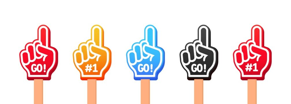 Sport team fans. Raised hands wearing foam fingers. Hand up with Go text. Vector on isolated white background. EPS 10