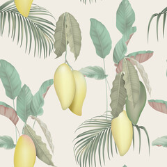 Fruit seamless pattern, Barracuda mangos with various plants on grey