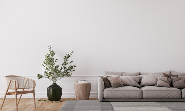 Mockup wall in farmhouse living room interior, beige sofa on white wall background, 3d render