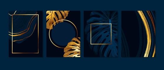 Set of elegant brochure, card, background, cover. Blue and golden marble texture. Geometric frame.