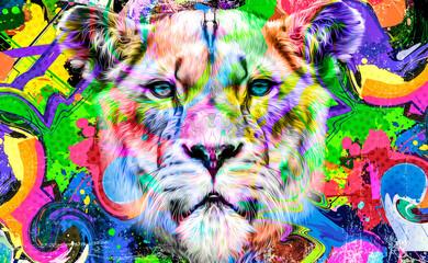 close up of a lion head