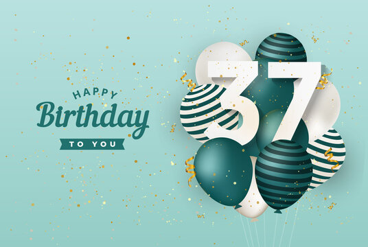 Happy 37th birthday with green balloons greeting card background. 37 years anniversary. 37th celebrating with confetti. Vector stock