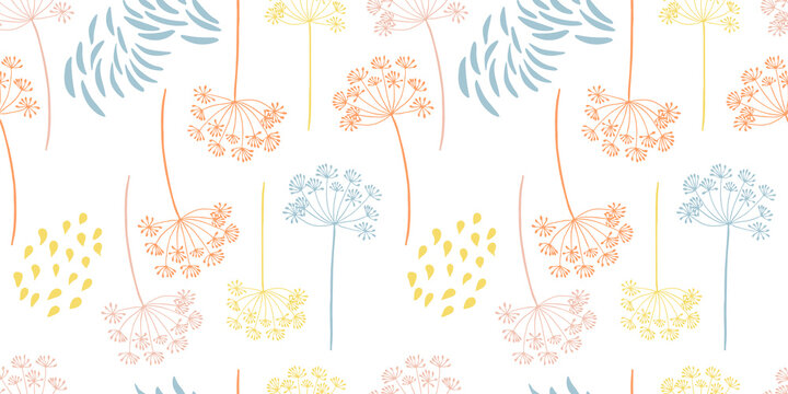 Vector organic floral seamless abstract background, botanical motif, freehand doodles pattern. Fennel flowers in pastel colors.