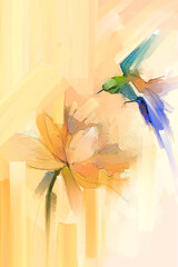 Abstract art, hand painted colorful oil, acrylic painting of bird flying over lotus flower. Illustration hand paint floral blossom in summer, spring season, nature image for wallpaper or background