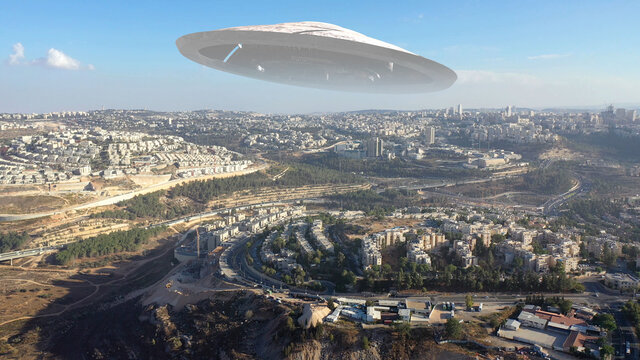 Alien Spaceship ufo Hovering over Jerusalem city-Aerial view , Drone view over Jerusalem with Large flying Sacuer, visual effect element, invasion sci fi concept