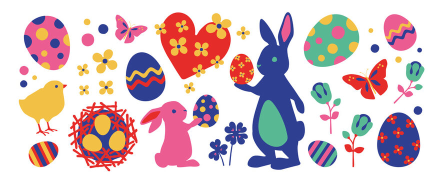 Easter collection of seasonal elements, hand drawn items, vector design