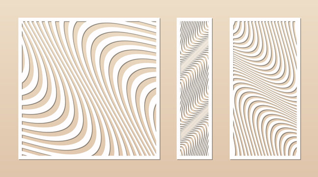 Laser cut patterns. Vector design with abstract geometric ornament, waves, curved lines, stripes. Template for cnc cutting, decorative panels of wood, metal, plastic, paper. Aspect ratio 1:1, 1:4, 1:2