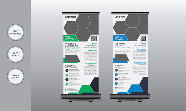 Junior School Admission Rollup Banner Creative Business  Concept Roll-up Banner stand Print Template